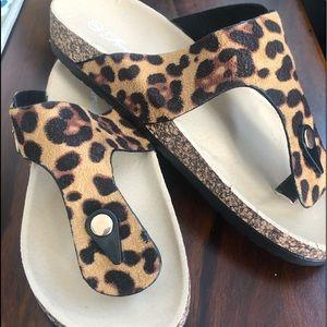 Shoes - NWOT LEOPARD SLIDES